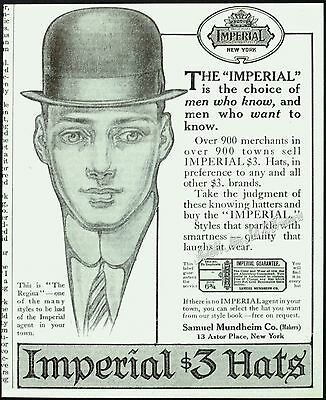 1909 RARE IMPERIAL $3 Derby HAT Men's Edwardian NY Fashions Antique PRINT AD Art