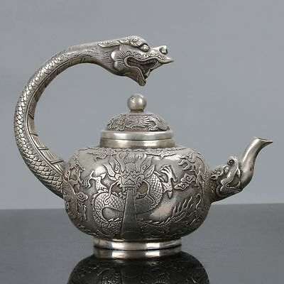 Old ChineseCupronickel Dragon Handle Teapot W Qianlong Mark