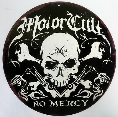 Motor Cult No Mercy,  All Weather Metal Sign Aged Look
