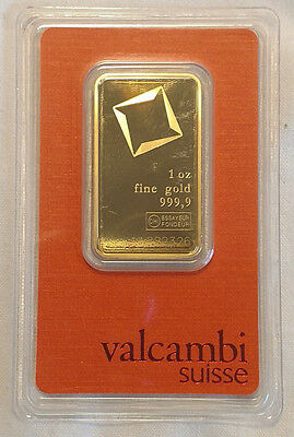1 oz Valcambi Gold Bar .9999 - Assay Card - #AA222326 Great Investment!