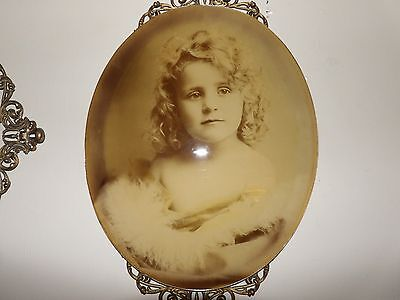 antique vintage victorian girl photo picture oval glass