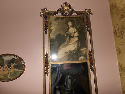 GORGEOUS antique victorian woman mirror with gesso frame and gesso flowers HUGE