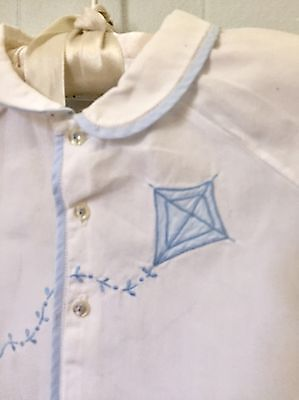 Vintage Feltman Bros Infant's Shirt.  Blue And White Hand Embroidered Cotton.