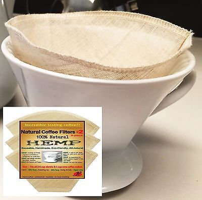 Reusable Cone Coffee Filters #2 Melitta Style by P&F (3 packs)