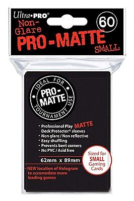 Ultra Pro Deck Protector Sleeves x60 - Small - Matte Black (for Yu-Gi-Oh etc.)