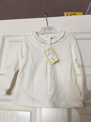 BNWTA Baby Girls Darcy Brown Cream Long Sleeve Top Age 12 Months