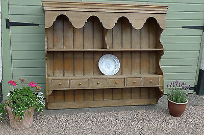 Large Antique Farmhouse Pine Hanging Wall Plate Rack With Drawers