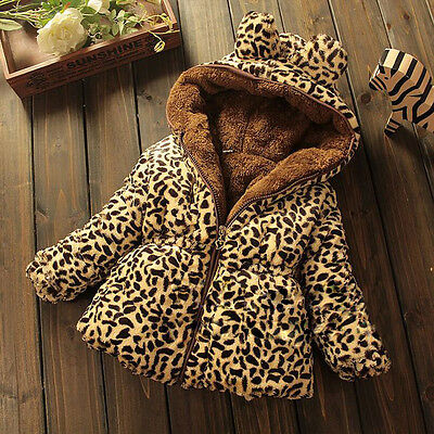 New Baby Toddler girl winter Add wool leopard grain Hooded Coat Outerwear Jacket