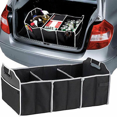 1pc Extra Large Car Auto Trunk Organizer With 3 Compartments Simple Folding Flat