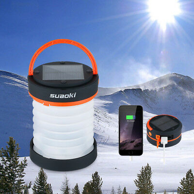 Suaoki LED Solar Rechargeable Collapsible Camping Lantern Tent Light Lamp Torch