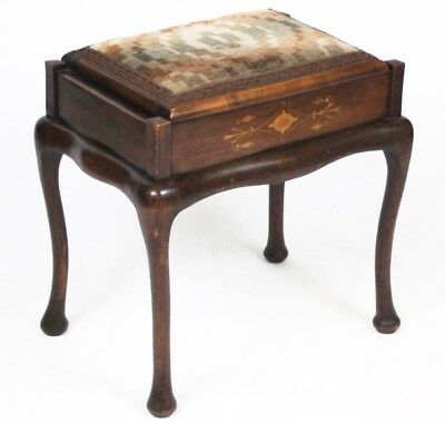 Antique Victorian Inlaid Mahogany Piano Stool - FREE Shipping [PL3503]