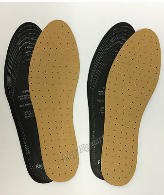 Brand New 2 Pairs Shoe Insoles Cut To Size Unisex Comfy Leather Look-AU STOCK