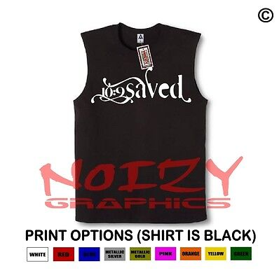 Saved #3 10:9 Christian SLEEVELESS Shirt Jesus Religious Muscle Tee Hip Hop Rock
