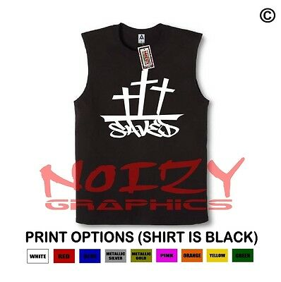Saved Cross #2 Christian SLEEVELESS Shirt Jesus Religious Muscle Tee Hip Hop