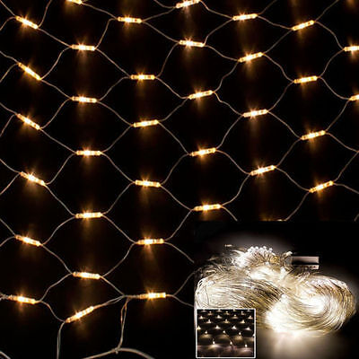 1.5m x 1.5m 80 LED Warm White Web Net Curtain Fairy Lights - Wedding Party