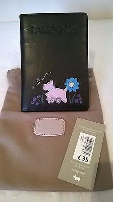 Radley Dalloway Black Leather Passport Cover Turquoise Flower Design BNWT