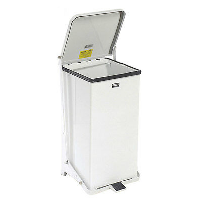 Fire Safe Step On Metal Trash Cans, 12 Gallon, White