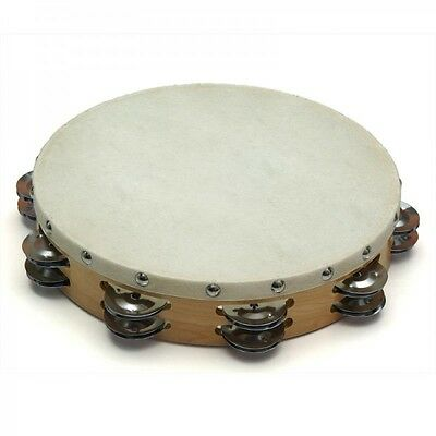"Wooden TAMBOURINE with Head 8"" or 10"" Double Row Hand Held Kids Drum Percussion"