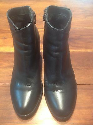 Ankle Boots, Women's, Black Leather, Size 39