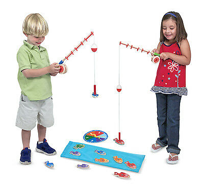 Melissa and Doug Wooden Magnetic Fishing Game Catch and Count - New