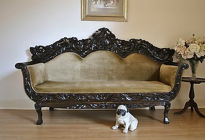 Vintage Ornately Carved Colonial Dutch East India Style Teak Settee Daybed Sofa