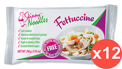 Case of 12 Skinny Noodles-Fettuccine 200g, Shirataki, Dukan,Atkins,Low Carb,Slim
