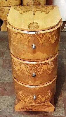 In 4 weeks Art Deco style olive wood side table commode