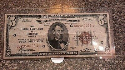 1929 Series $5 National Bank  of  Chicago  note