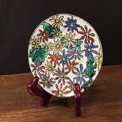 Vintage Ando Cloisonne Plate Japanese Flowers Japan PRIORITY MAIL