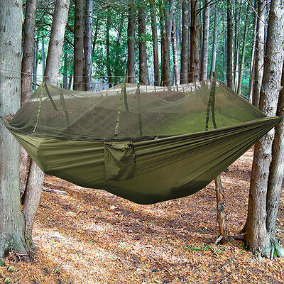Double Hammock Tree 2 People Person Patio Bed Swing Outdoor with Mosquito NetO6Y