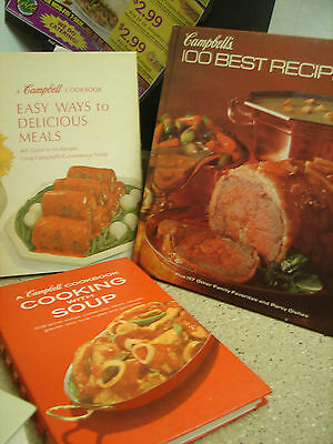3 Campbell Soup Cookbooks- 1970s-cooking with soup &  easy way  100 best recipes