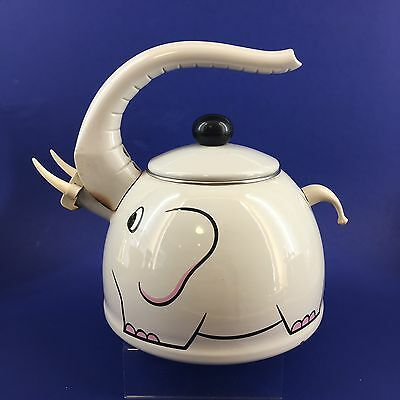 M. KAMENSTEIN Elephant Enameled Steel Whistling Kettle Teapot Vintage