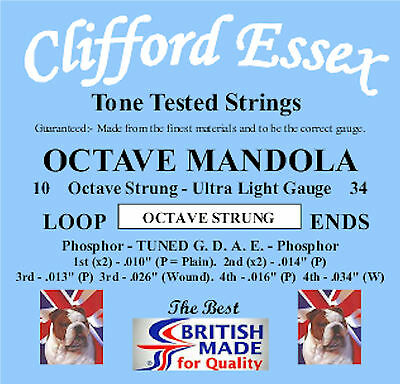 Octave Mandola Strings. Ultra Light Gauge. 10 - 34. Made In Britain.