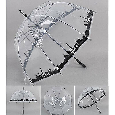 Transparent Manual Open Rain Umbrella Clear Windproof Dome  Curved Handle #B99