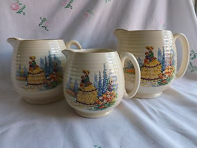 Beautiful Vintage Beswick Set Of 3 Crinoline Lady Graduated Jugs