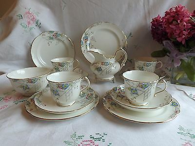 Beautiful Vintage Hammersley Hand Painted Pink And Blue Floral Part Tea Set