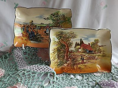 "Beautiful Vintage Royal Doulton Hand Painted ""rustic England"" Small Dishes"