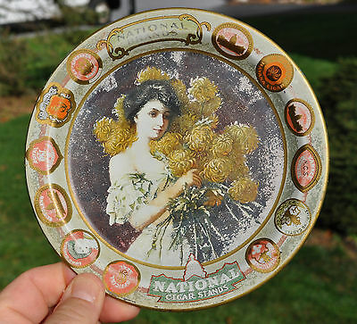 Lovely Antique Tin Lithograph Tip Tray National Cigars Woman & Chrysanthemums