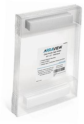 8.5 x 11 acrylic sign holder clear wall mount adhesive, no drilling,  6-pack