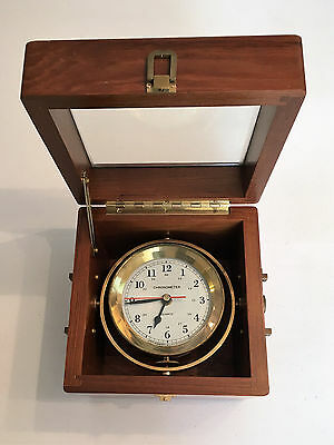 Brass Marine Chronometer on Gimbals in Wooden Case