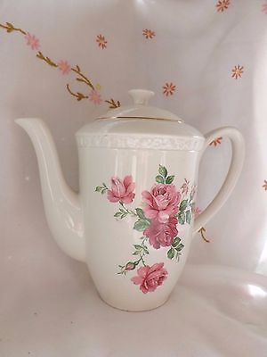 "Beautiful Vintage Wedgwood ""hedge Rose"" Pink Rose Design Large Tea Pot"