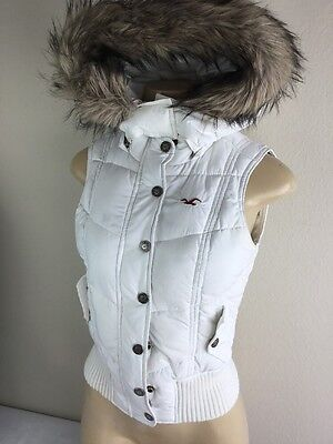 Hollister Puffer Vest Hooded Fur Lined Quilted White Full Zip Women Juniors S