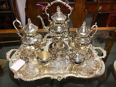 Magnificent Antique English Coffee And Tea Set Silverplate Six Pieces
