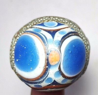 Ancient Mosaic Glass Unique ฺBronze Stunning ring 13 size