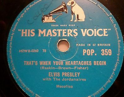 "ELVIS PRESLEY ""That's When Your Heartaches Begin / All Shook Up"" HMV 78rpm 10"""