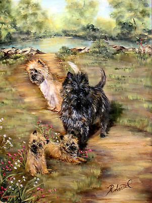 "Cairn Terrier group in field  dog art print size ""8 x 10"""