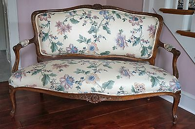 Antique Settee/Love Seat with beautiful carved Mahogany frame