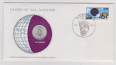 East Germany Coins Of All Nations 1978 1 Mark Coin Cover Stamp