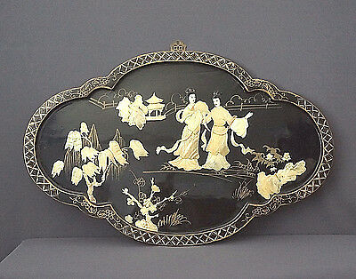 Antique Asian Oriental Mother of Pearl Inlaid Black Lacquer Geisha Wall Art