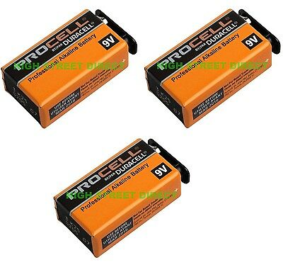 3 X Duracell Industrial 9V PP3 Block Alkaline Batteries MN1604 Replaces Procell